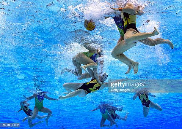 Gemma Beadsworth of Australia is smashed during the Women's Water Polo qualification match between Australia and Brazil at Olympic Aquatics Stadium...