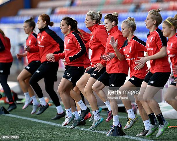 Gemma Bonner and the rest of the Liverpool Ladies in action during a training session at Select Security Stadium on September 24 2015 in Widnes...