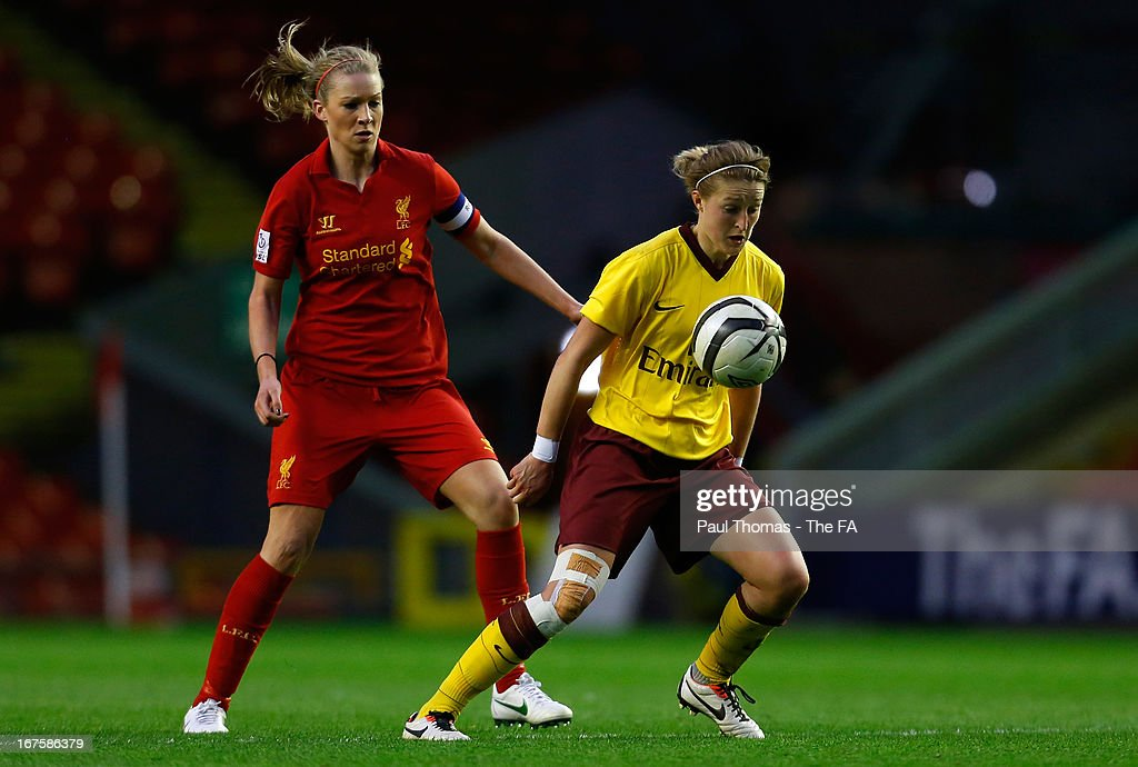 Gemma Bonner (L) of Liverpool in action with <a gi-track='captionPersonalityLinkClicked' href=/galleries/search?phrase=Ellen+White&family=editorial&specificpeople=4436830 ng-click='$event.stopPropagation()'>Ellen White</a> of Arsenal during the Womens FA Cup Semi Final match between Liverpool Ladies FC and Arsenal Ladies FC at Anfield on April 26, 2013 in Liverpool, England.