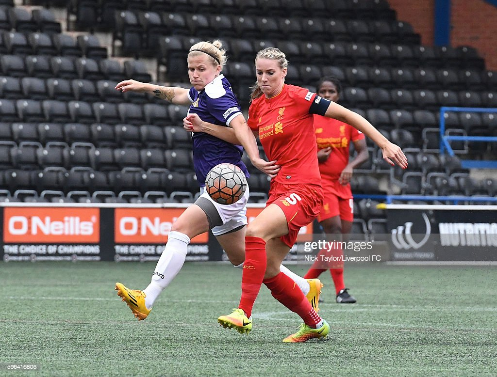 Gemma Bonner of Liverpool Ladies and Katrin Omarsdottir of Doncaster Rovers Belles in action during the Liverpool Ladies v Doncaster Rovers Belles...
