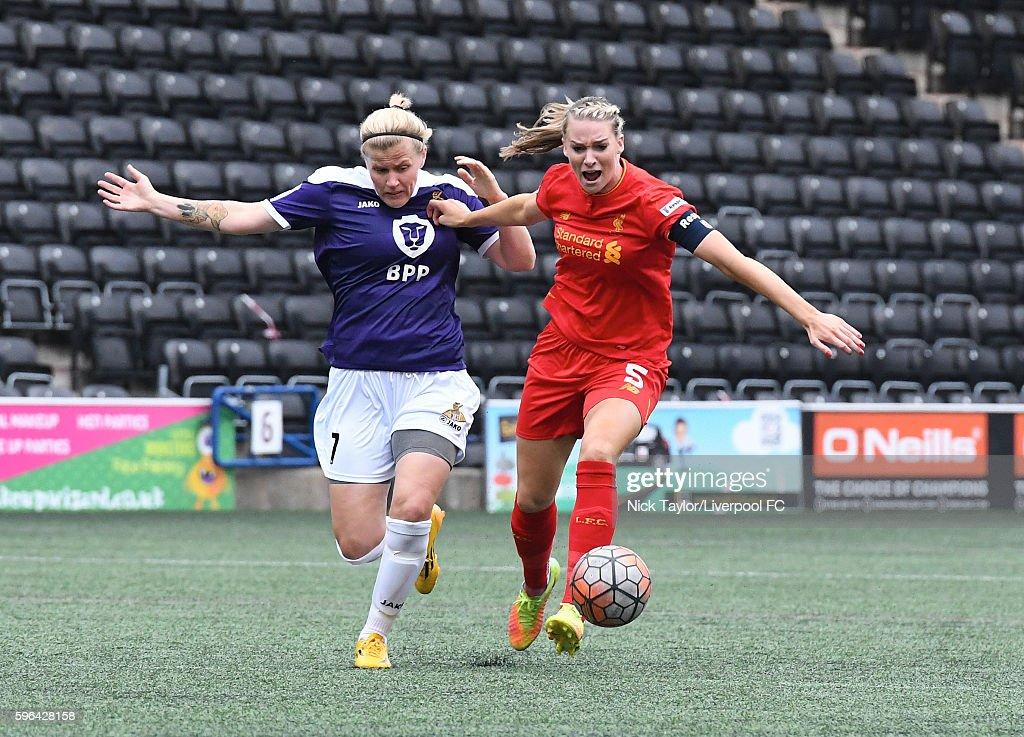 Gemma Bonner of Liverpool Ladies and Katrin Omarsdottir of Doncaster Belles in action during the Liverpool Ladies v Doncaster Belles WSL 1 match on...