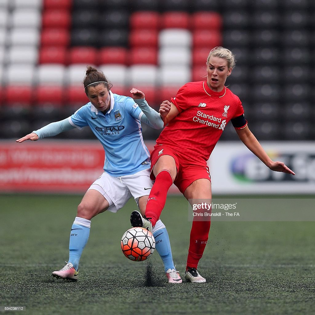 Gemma Bonner of Liverpool Ladies FC in action with Jane Ross of Manchester City Women during the FA WSL match between Liverpool Ladies FC and Manchester City Women at the Halton Stadium on May 25, 2016 in Widnes, England.