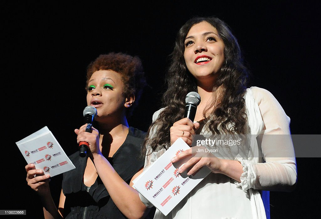 Gemma Cairney and Miquita Oliver appear on stage during the 'Women Of The World: Equals' live concert to celebrate the 100th anniversary of International Women's Day at the Royal Festival Hall on March 11, 2011 in London, England.