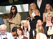 Gemma Chan and Amanda Holden attend day six of the Wimbledon Tennis Championships at Wimbledon on July 02 2016 in London England