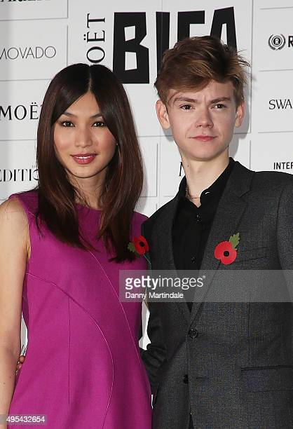 Gemma Chan and Thomas BrodieSangster announce the The Moet British Independent Film Awards at The London Edition Hotel on November 3 2015 in London...