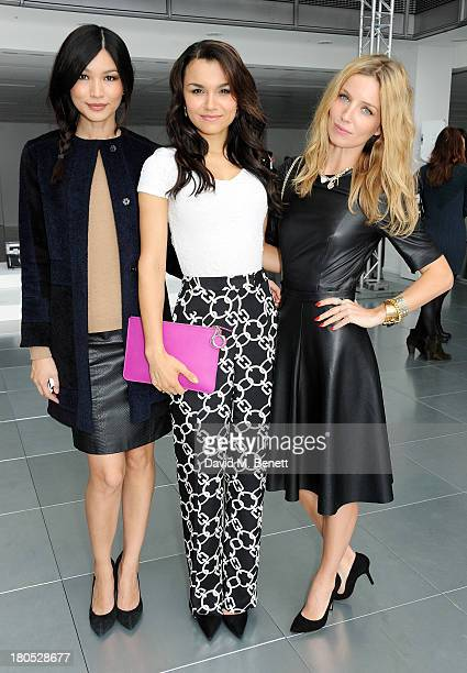 Gemma Chan Samantha Barks and Annabelle Wallis attend the front row at the Whistles show during London Fashion Week SS14 at Heron Tower on September...