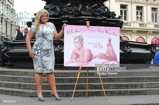 Gemma Collins attends a photocall to unveil her new advert for PETA at Picadilly Circus on September 10 2013 in London England