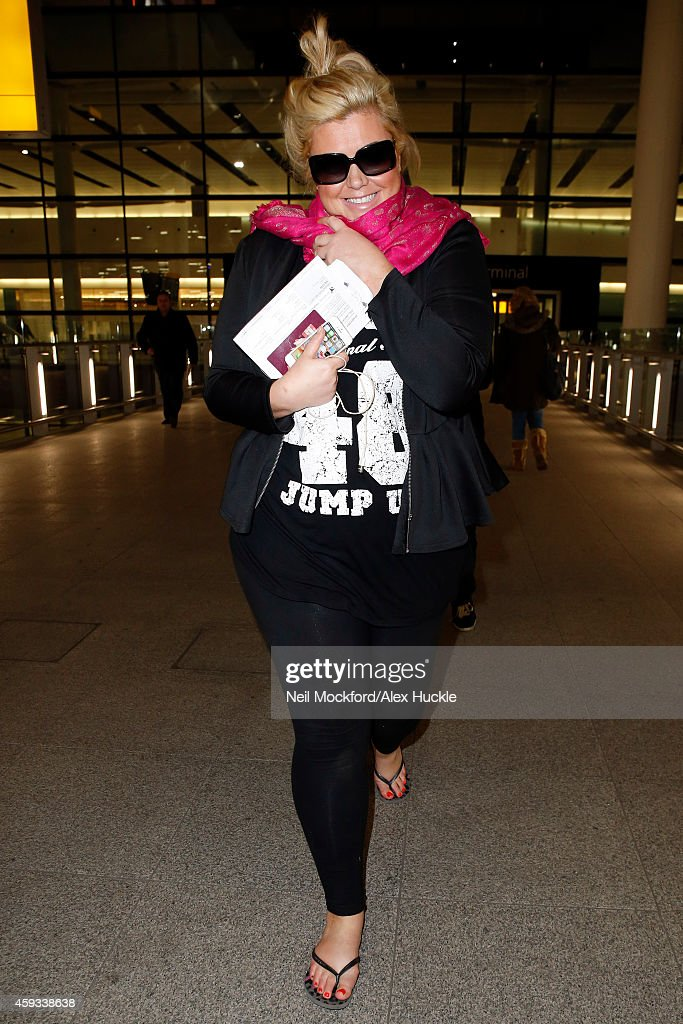 Gemma Collins seen arriving at Heathrow Airport after returning from tv show 'I'm A Celebrity' on November 21 2014 in London England Photo by Neil...