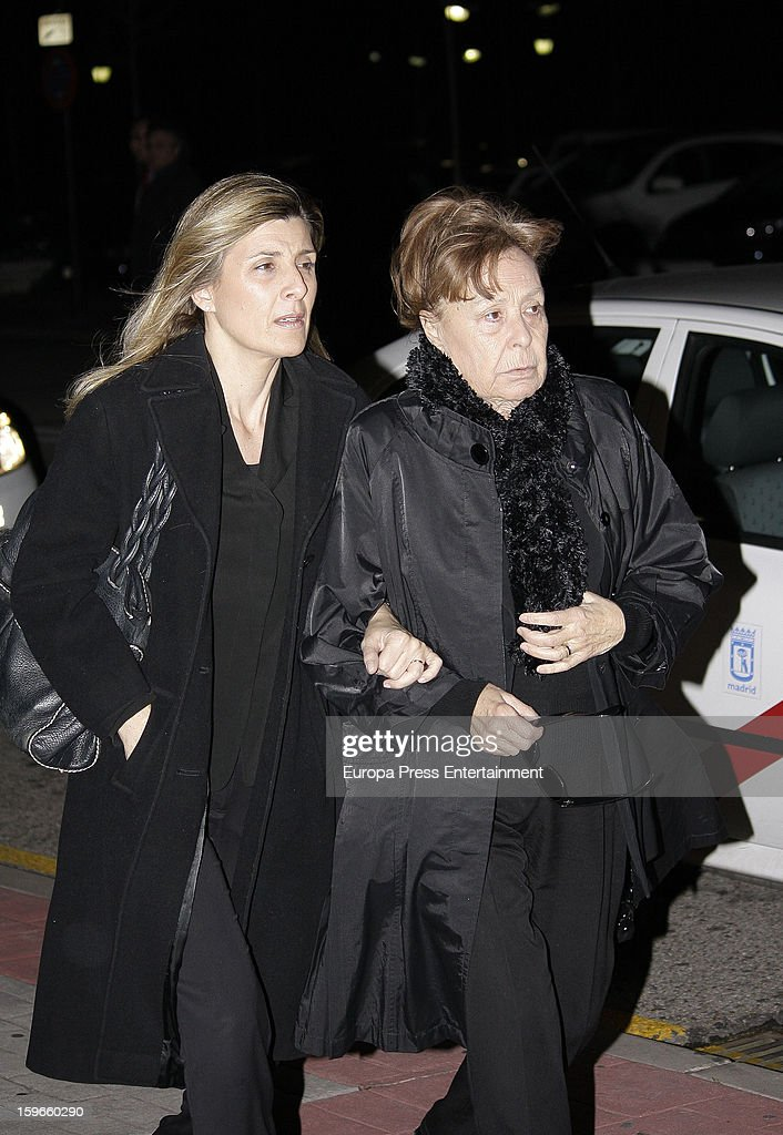 Gemma Cuervo (R) and Natalia Guillen Cuervo attend the funeral chapel for actor Fernando Guillen at Tres Cantos Chapel on January 17, 2013 in Madrid, Spain.