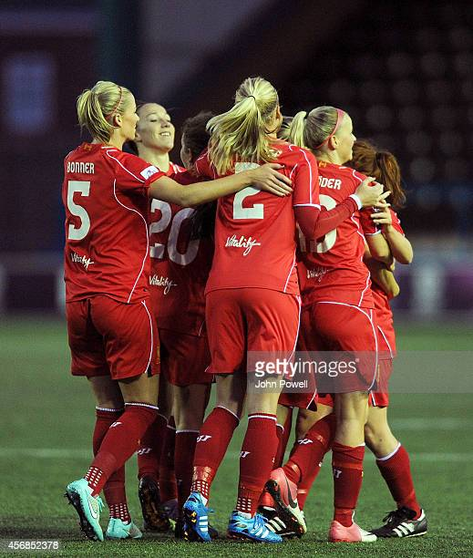 Gemma Daison of Liverpool is congratulated after scoring the first goal during the UEFA Womens Champions League last 32 fixture between Liverpool...