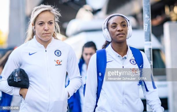Gemma Davison and Crystal Dunn of Chelsea arrive prior to the UEFA Women Champions League Round of 32 second leg match between FC Bayern Muenchen and...