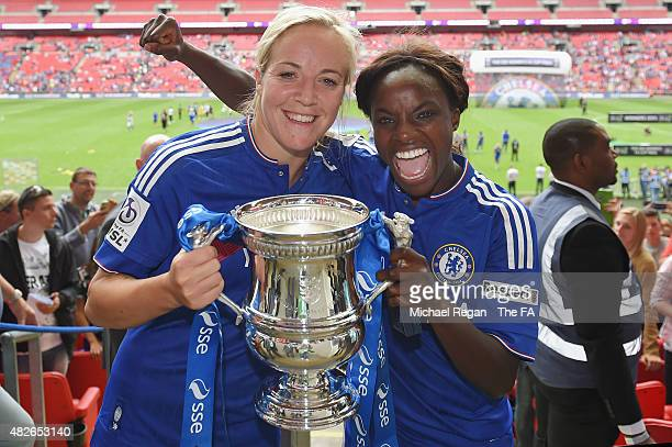 Gemma Davison and Eniola Aluko of Chelsea celebrate after the FA Cup Final match between Chelsea Ladies and Notts County Ladies at Wembley Stadium on...