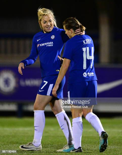 Gemma Davison congratulates team mate Fran kirby after sh scores to make it 30 of Chelsea during a Continental Tyres Cup Match between Chelsea Ladies...