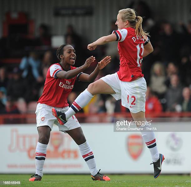 Gemma Davison of Arsenal celebrates with teammate Danielle Carter after scoring a goal to equalise during the The FA Womens Super League match...