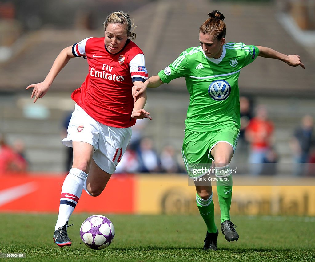 Gemma Davison (L) of Arsenal in ation with Verena Faisst of Wolfsburg during the UEFA Women's Champions League Semi Final First Leg match between Arsenal Ladies and VFL Wolfsburg at Meadow Park on April 14, 2013 in Borehamwood, England.