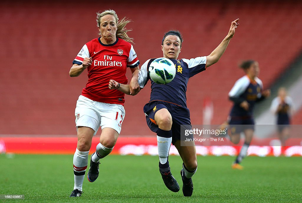 Gemma Davison of Arsenal Ladies battles with Lucy Bronze of Liverpool Ladies during the FA WSL Continental Cup match between Arsenal Ladies FC and Liverpool Ladies FC at Emirates Stadium on May 7, 2013 in London, England.
