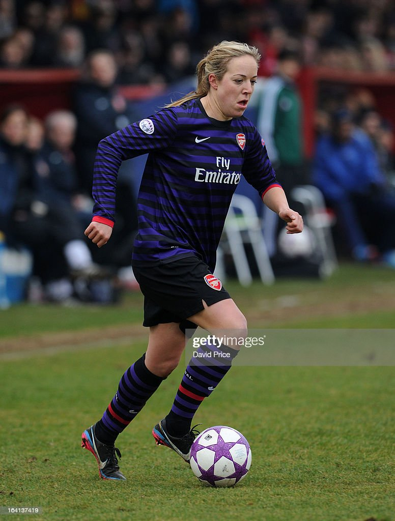 Gemma Davison of Arsenal Ladies FC during the Women's Champions League Quarter Final match between Arsenal Ladies FC and ASD Torres CF at Meadow Park on March 20, 2013 in Borehamwood, United Kingdom.