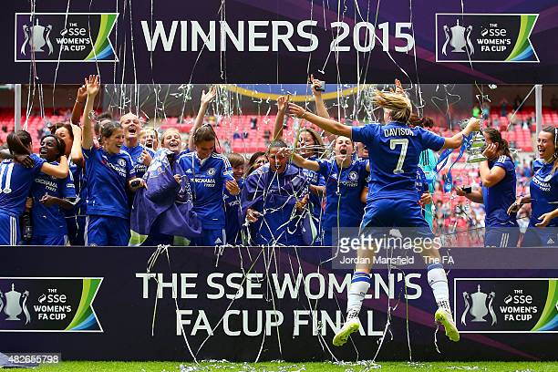 Gemma Davison of Chelsea celebrates with team mates after their victory during the Women's FA Cup Final between Chelsea Ladies FC and Notts County...