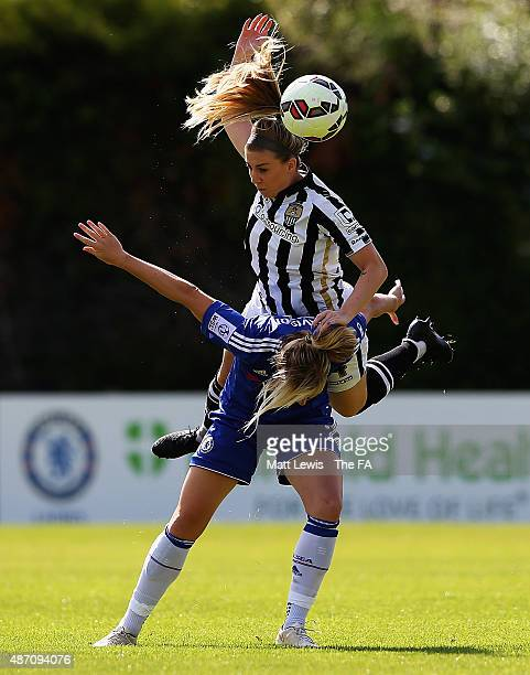 Gemma Davison of Chelsea Ladies and Sophie Walton of Notts County Ladies challenge for the ball during the FA WSL match between Chelsea Ladies FC and...