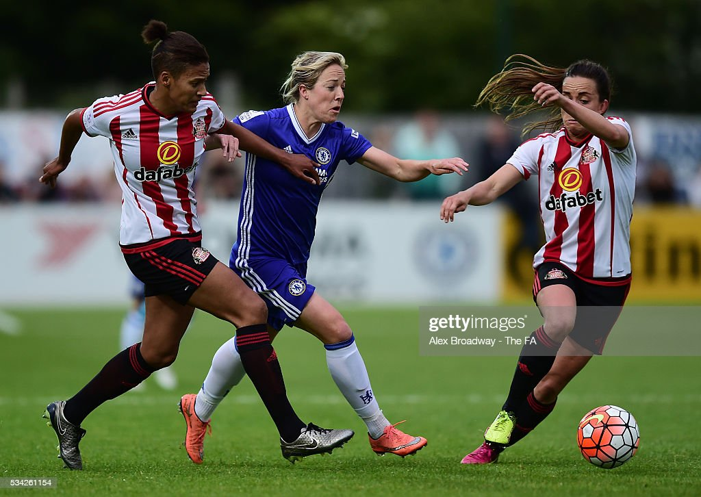 Gemma Davison of Chelsea Ladies FC and Victoria Williams and Lucy Staniforth of Sunderland Ladies vie for the ball during the FA WSL 1 match between Chelsea Ladies FC and Sunderland Ladies at Wheatsheaf Park on May 25, 2016 in Staines, England.