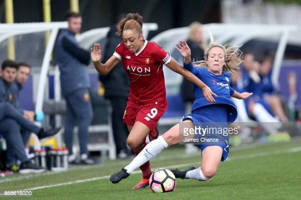 Gemma Davison of Chelsea Ladies fouls Jess Clarke of Liverpool Ladies during the Wome's Super League 1 match between Chelsea Ladies v Liverpool...