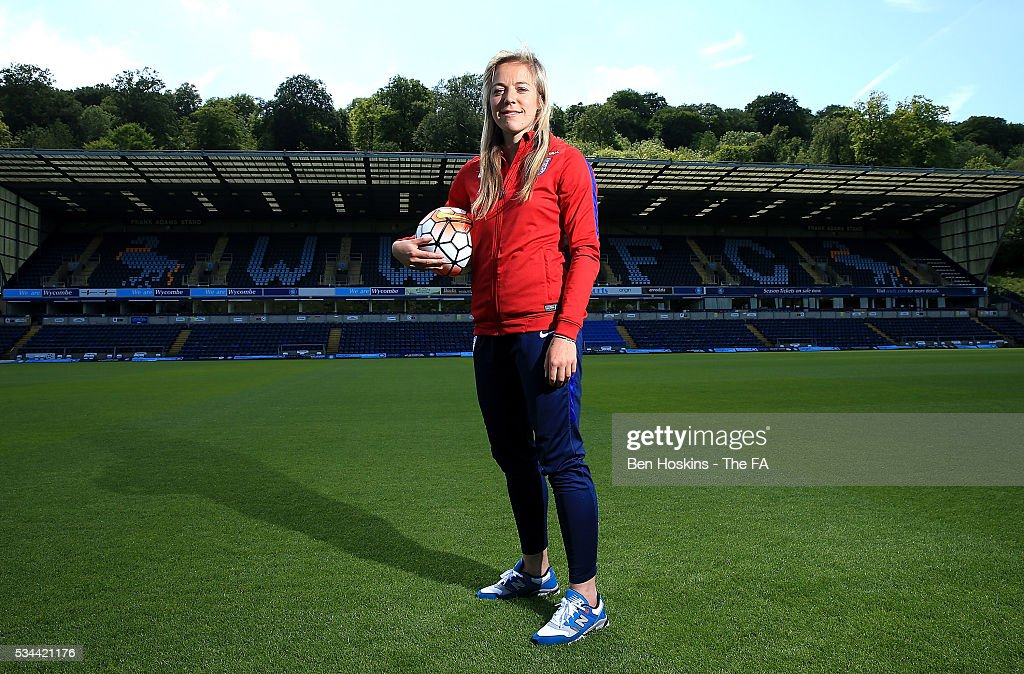 Gemma Davison of England poses for a picture during the England Women v Serbia Women: Media Day on May 26, 2016 in High Wycombe, England.