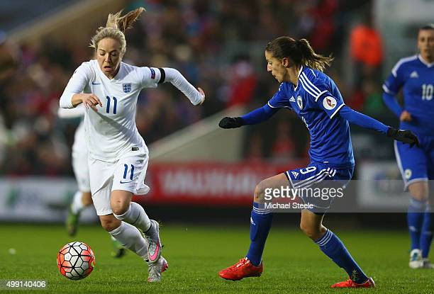 Gemma Davison of England tracked by Milena Nikolic of Bosnia and Herzegovina during the UEFA Women's Euro 2017 Qualifier match between England and...