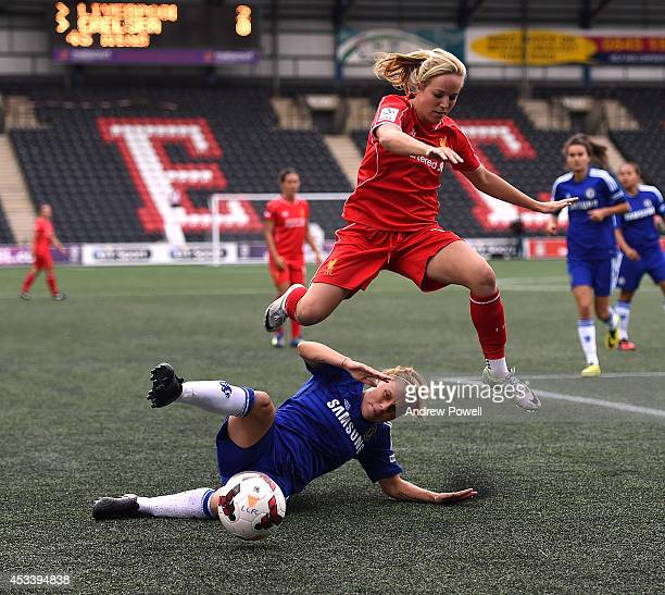 Gemma Davison of Liverpool Ladies compete with Laura Bassett of Chelsea Ladies during the WSL match between Liverpool Ladies v Chelsea Ladies at...