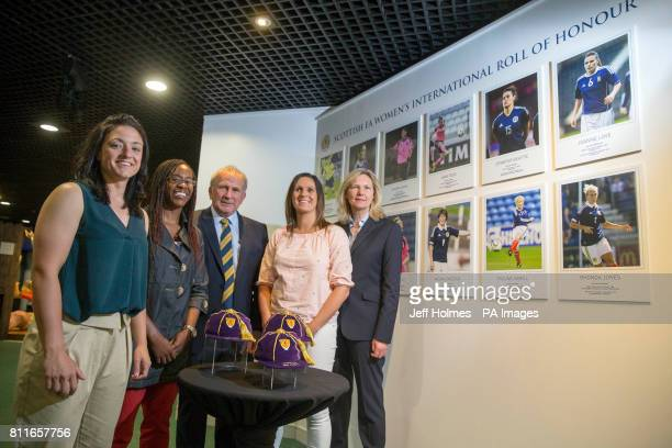 Gemma Fay Ifeoma Dieke Alan McRae Julie Fleeting and Anna Signaul during the opening of a new Scottish FA WomenÕs International Roll of Honour...