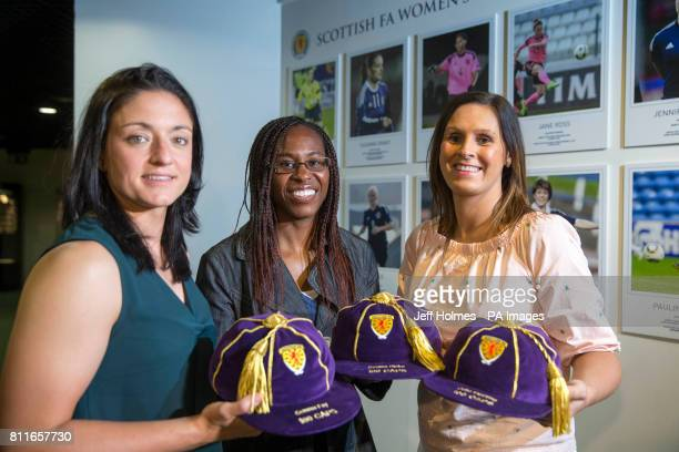 Gemma Fay Ifeoma Dieke and Julie Fleeting during the opening of a new Scottish FA WomenÕs International Roll of Honour display at Hampden Park...