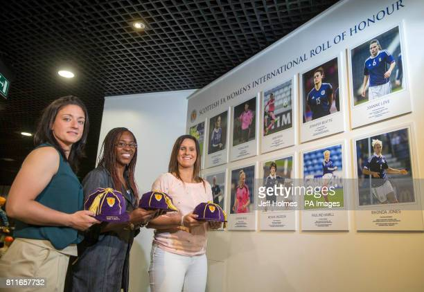 Gemma Fay Ifeoma Dieke and Julie Fleeting during the opening of a new Scottish FA Womenâs International Roll of Honour display at Hampden Park Glasgow