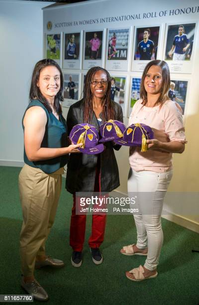 Gemma Fay Ifeoma Dieke and Julie Fleeting during the opening of a new Scottish FA WomenÕs International Roll of Honour display at Hampden Park Glasgow