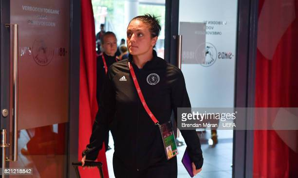 Gemma Fay of Scotland arrives prior to the UEFA Women's EURO 2017 Group D match between Scotland and Portugal at Sparta Stadion on July 23 2017 in...