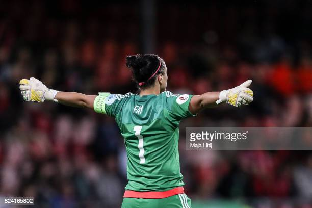 Gemma Fay of Scotland reacts during the Group D match between Scotland and Spain during the UEFA Women's Euro 2017 at Stadion De Adelaarshorst on...