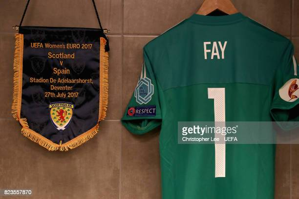 Gemma Fay of Scotland shirt hangs in the changing room with the Scotland pennant prior to the Group D match between Scotland and Spain during the...