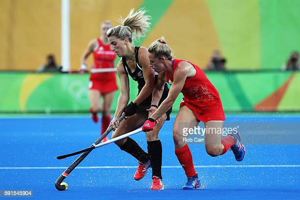 Gemma Flynn of New Zealand and Susannah Townsend of Great Britain in action during the Women's Semifinal match between New Zealand andGreat Britain...