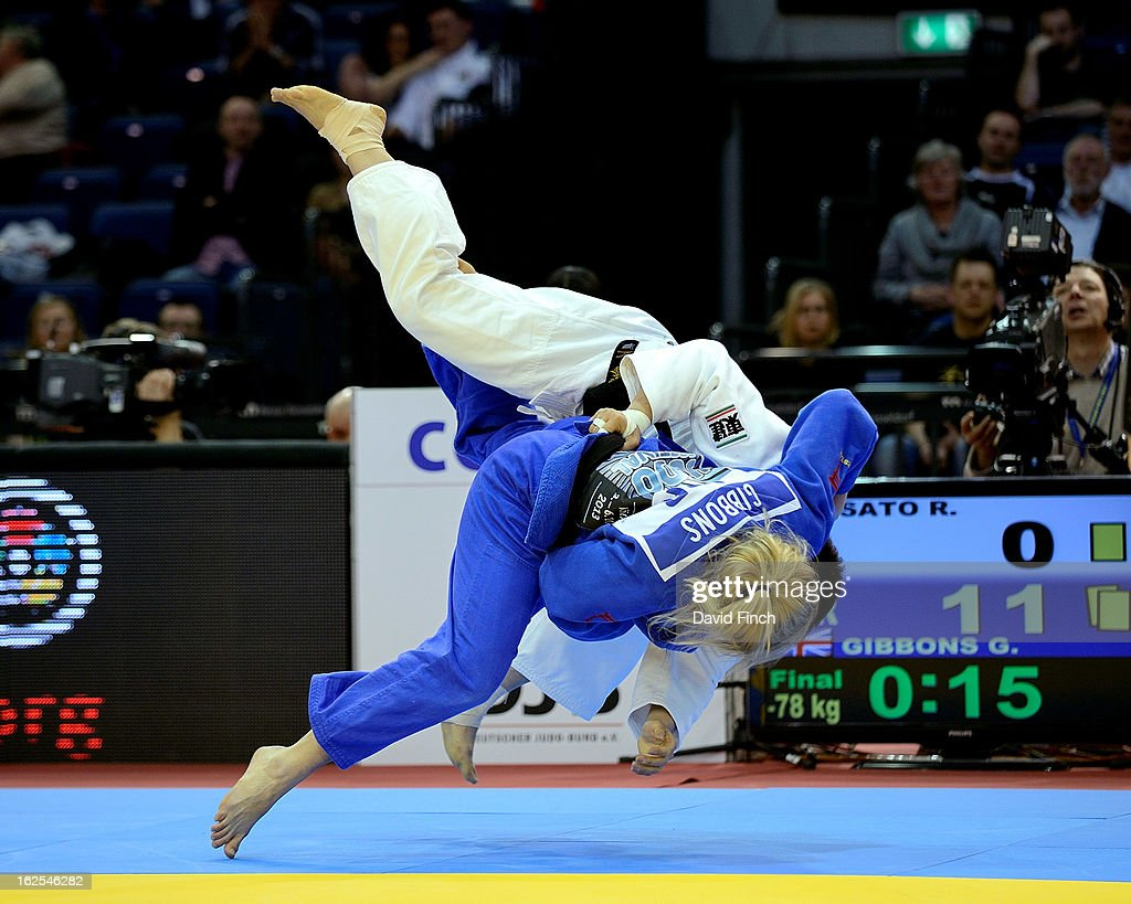 <a gi-track='captionPersonalityLinkClicked' href=/galleries/search?phrase=Gemma+Gibbons&family=editorial&specificpeople=7541729 ng-click='$event.stopPropagation()'>Gemma Gibbons</a> of Great Britain (blue) throwing Ruika Sato of Japan for ippon (10 points) during the u78kgs final where she won the gold medal during Day 2 of the Dusseldorf Grand Prix at the Mitsubishi Electric on February 24, 2013 in Halle, Dusseldorf, Germany.