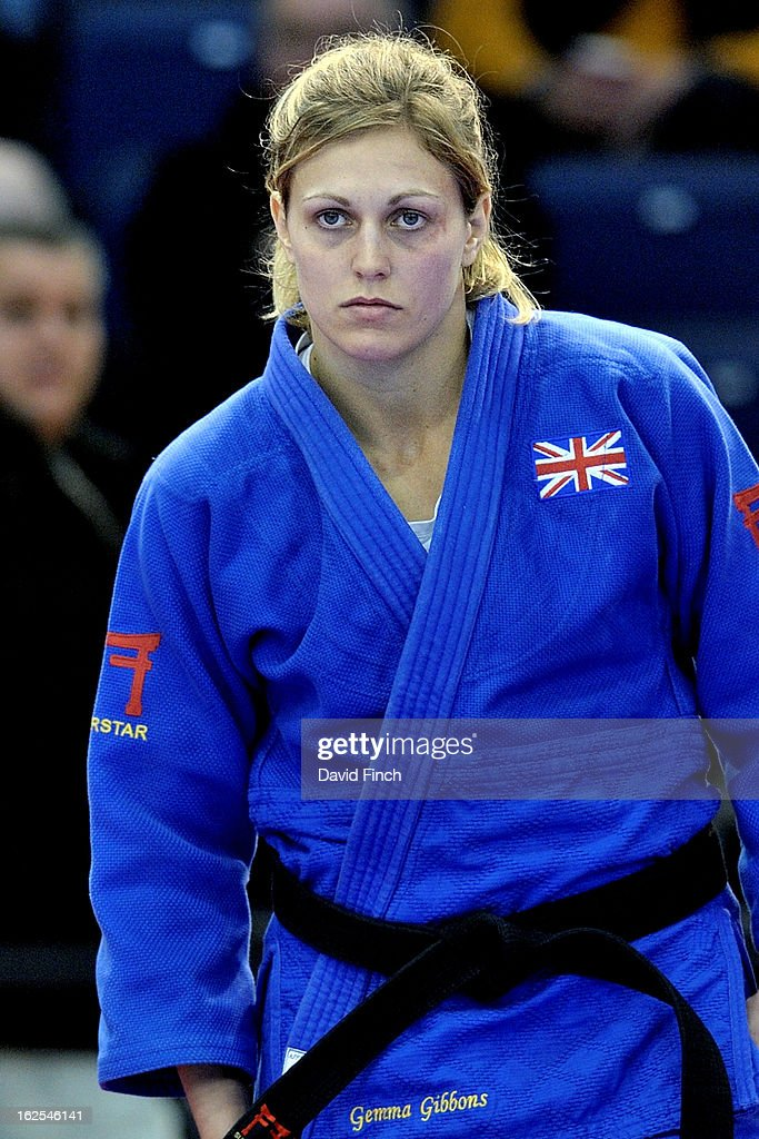 <a gi-track='captionPersonalityLinkClicked' href=/galleries/search?phrase=Gemma+Gibbons&family=editorial&specificpeople=7541729 ng-click='$event.stopPropagation()'>Gemma Gibbons</a> of Great Britain (blue) waiting at the side of the mat before the u78kgs final against Ruika Sato of Japan that finished with Gibbons winning the gold medal during Day 2 of the Dusseldorf Grand Prix at the Mitsubishi Electric on February 24, 2013 in Halle, Dusseldorf, Germany.
