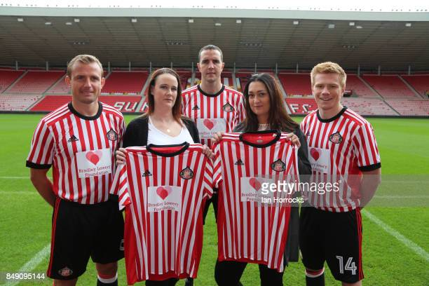 Gemma Lowery and Lynn Murphy join Lee Cattermole John O'Shea and Duncan Watmore displaying the Bradley Lowery Foundation shirts to worn in the up...