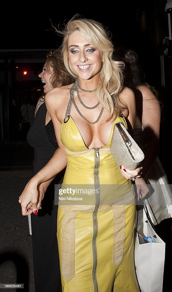 Gemma Merna is sighted leaving the Minestry of Sound, Elephant and Castle on October 21, 2013 in London, England.