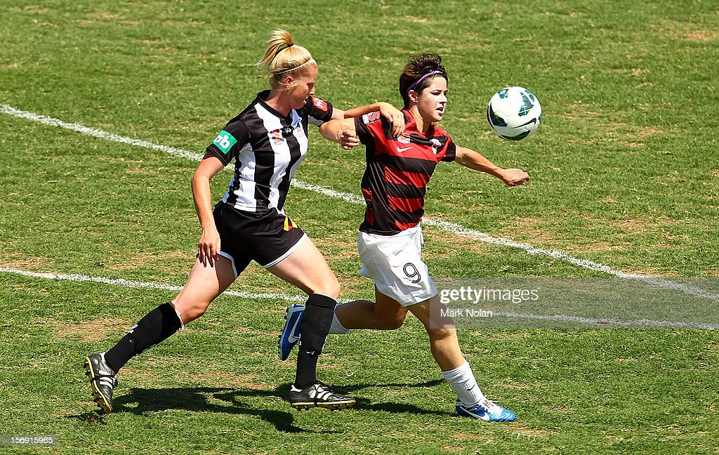 Gemma Pearce of the Jets and Sarah Walsh of the Wanderers contest possession during the round six W-League match between the Western Sydney Wanderers and the Newcastle Jets at Campbelltown Sports Stadium on November 25, 2012 in Sydney, Australia.