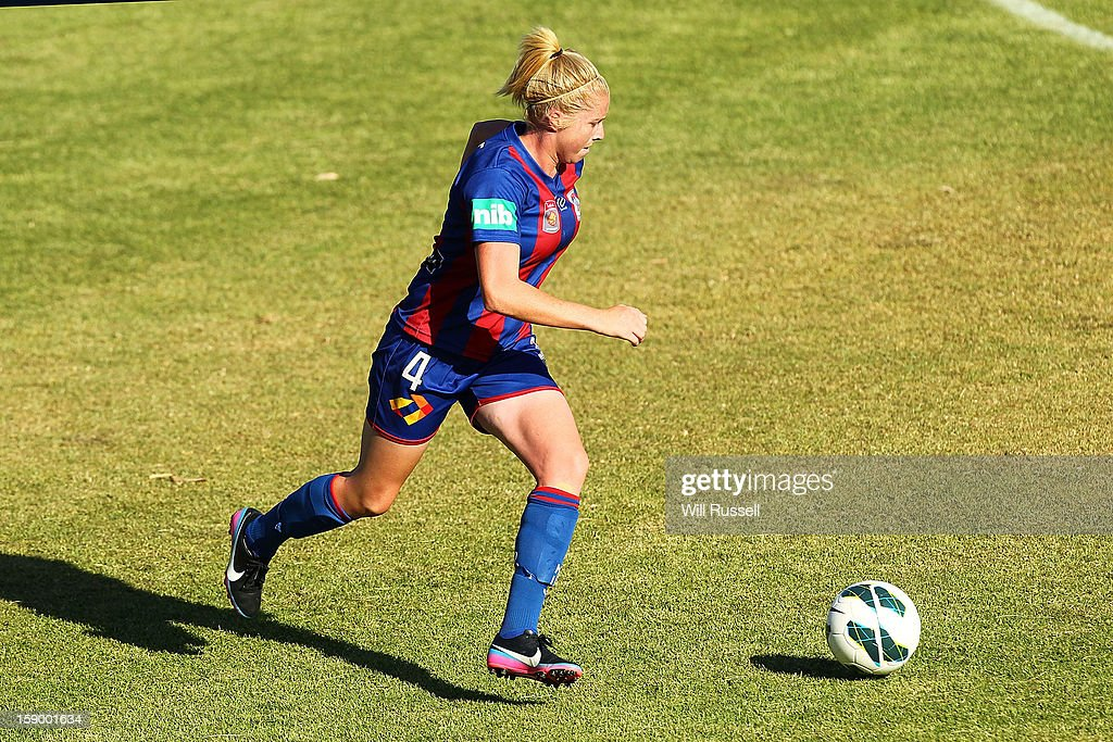 Gemma Pearce of the Jets controls the ball during the round 11 W-League match between the Perth Glory and the Newcastle Jets at Intiga Stadium on January 5, 2013 in Perth, Australia.