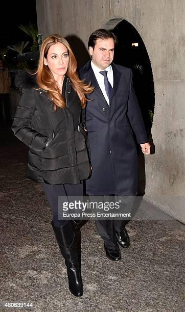 Gemma Ruiz Cuadrado and Jose Luis Diaz Fernandez attend the funeral chapel for Victoriano Cuevas at M30 Morgue on December 23 2014 in Madrid Spain