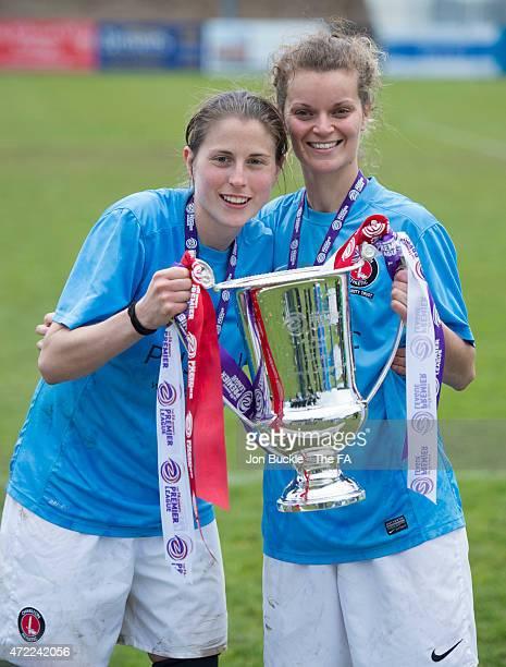 Gemma Shepherd and Samantha Pittuck of Charlton Athletic Women's FC hold the Women's Premier League Cup after the FA Women's Premier League Cup Final...