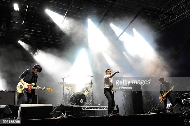 Gemma Thompson Fay Milton Jenny Beth and Ayse Hassan of Savages perform on stage during Day 3 of the Reading Festival at Richfield Avenue on August...