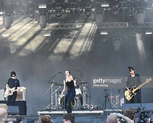 Gemma Thompson Jehnny Beth Fay Milton and Ayse Hassan of Savages peform at Shaky Knees Music Festival at Centennial Olympic Park on May 13 2016 in...