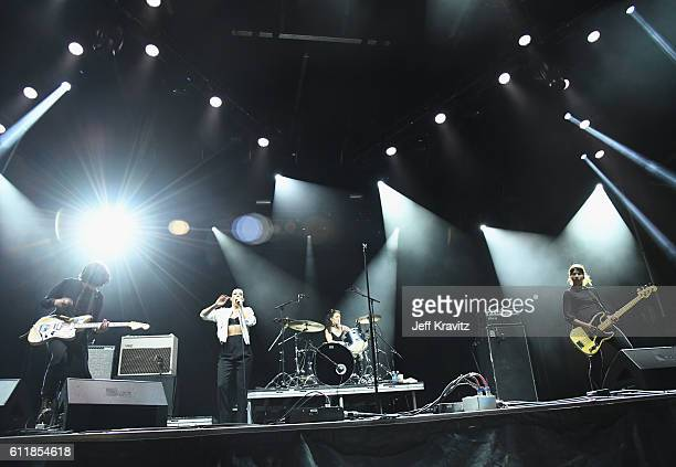 Gemma Thompson Jehnny Beth Fay Milton and Ayse Hassan perform onstage during The Meadows Music Arts Festival Day 1 on October 1 2016 in Queens New...