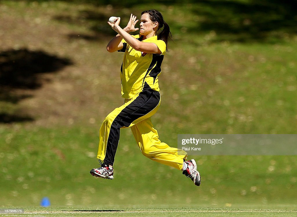 Gemma Triscari of the Fury bowls during the WNCL match between the Western Australia Fury and the South Australia Scorpions at Christ Church Grammar Playing Fields on December 8, 2012 in Perth, Australia.
