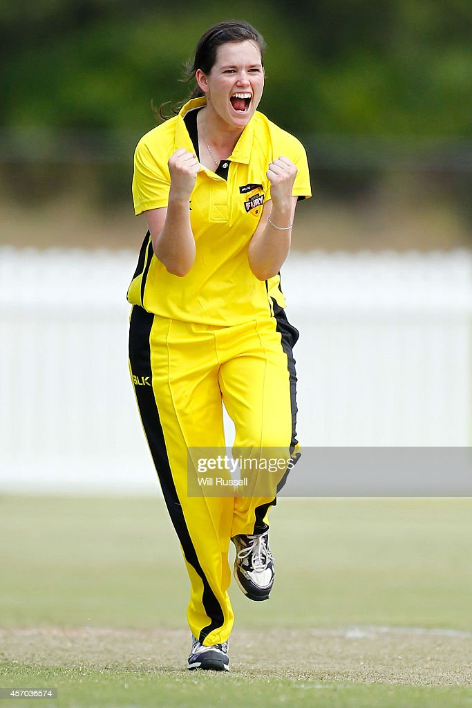 Gemma Triscari of The Western Fury celebrates after bowling Beth Mooney of The Queensland Fire during the WNCL match between Western Australia and...