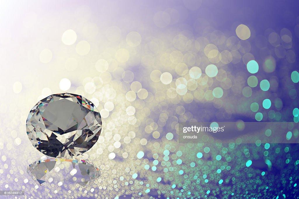 gems on shiny bokeh background : Foto de stock